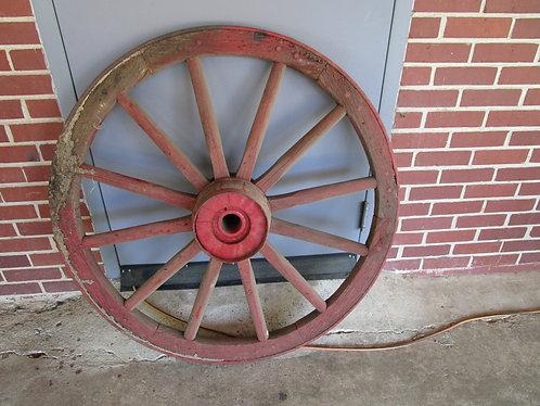 "Antique Wood and Metal 40"" Diameter 12 Spoke Wagon Carriage Wheel"