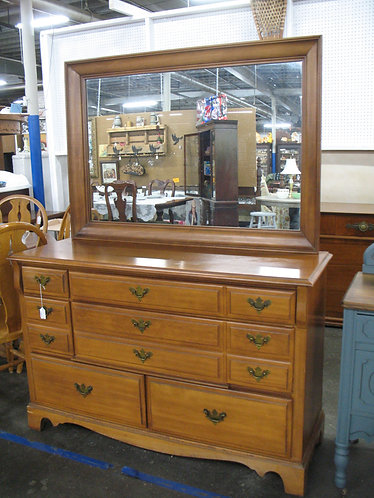 1963 Oak Six Drawer Dresser with Removable Mirror