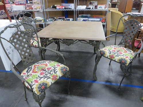 Vintage Lane Outdoor Iron and Wood Table with 3 Iron Upholstered Seat Chairs