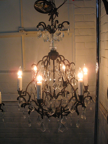 Wrought Iron and Crystal 6 Light Candleabra Chandelier