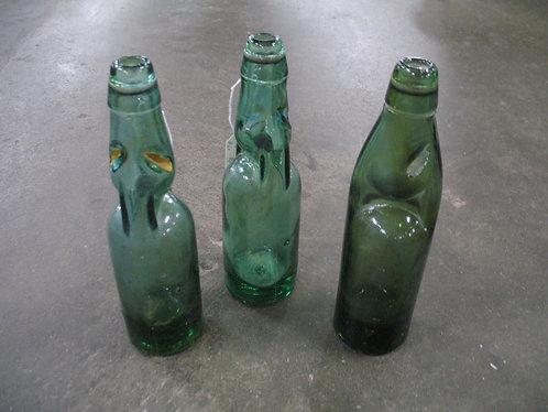 Vintage Green Glass Japanese Marble Soda Bottle