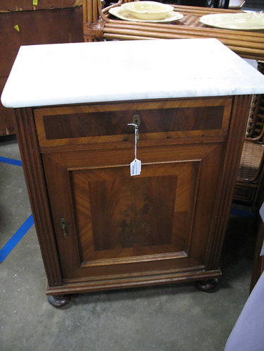Vintage Eastlake Wash Stand with Ridged Marble Top