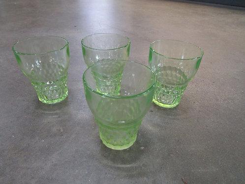 Vintage Uranium Vaseline Glass Short Tumbler Glasses Set of 4
