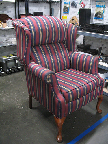 Vintage Striped Upholstery Double Cushion Wingback Chair