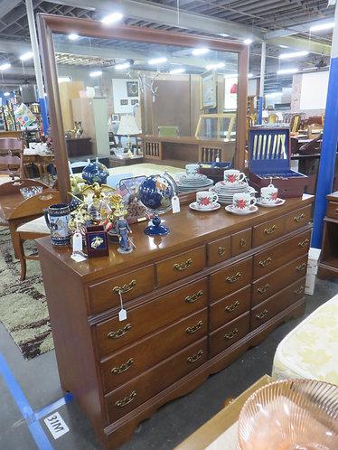 Vintage Bassett Furniture 9 Drawer Dresser with Attached Mirror