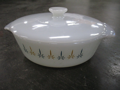 Vintage Fire King Milk Glass Casserole Dish with Lid