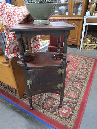 Vintage Mahogany Tin Lined Humidor Cigar Ashtray Stand
