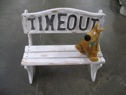 Solid Wood Painted & Distressed Timeout Small Children's Doll Bench