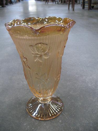 Vintage Marigold Carnival Glass Iris Herringbone Pedestal Vase