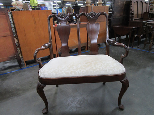 Vintage Chippendale Cream Damask Fabric Seat Settee
