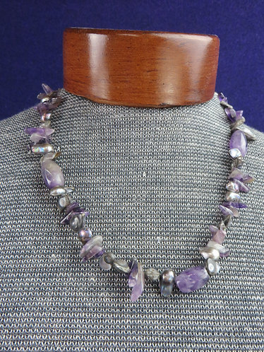 Vintage Amethyst and Mother of Pearl Necklace