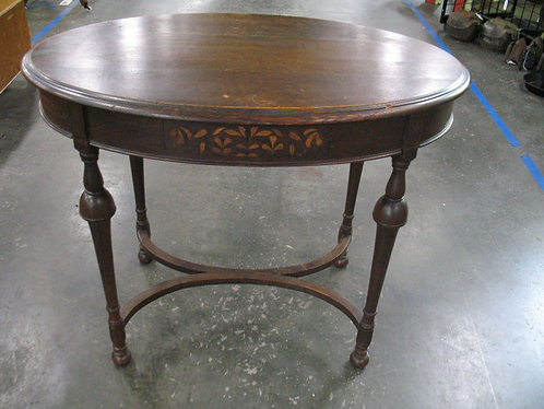 Vintage Empire Oval Table with Floral Inlays