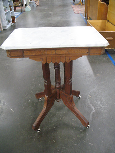 Vintage Eastlake Marble Top Table with Porcelain Casters