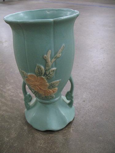 Vintage Wellen Aqua Blue Floral Double Handle Pottery Vase