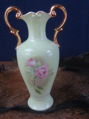 Lefton 1999 China Heritage Green Double Handle Vase