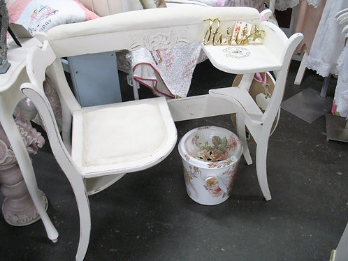 Vintage Painted & Stenciled Telephone Gossip Bench