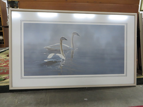 """Framed Limited Edition Terry A. Isaac """"Light and Mist - Trumpeter Swans"""""""