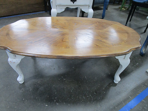 Farmhouse Queen Anne Coffee Table with Stained Oak Top and White Distressed Base