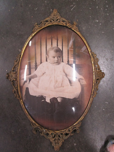 Antique Bubble Glass with Metal Oval Frame with Metal Back