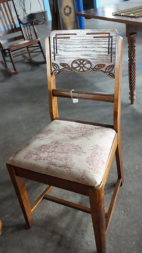 Wood chair, Upholstered seat farm scene, SS Harmon and Company, model 3354