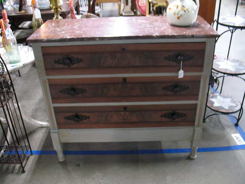 Antique Burled Wood Marble Top Chest of Drawers
