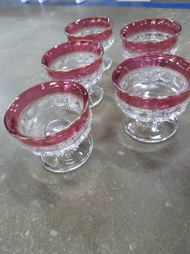 Vintage King's Crown Sherbert Glass Set of 5