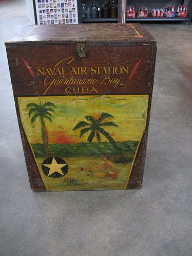 Vintage WWII Naval Air Station Guantanamo Bay Cuba Storage Box