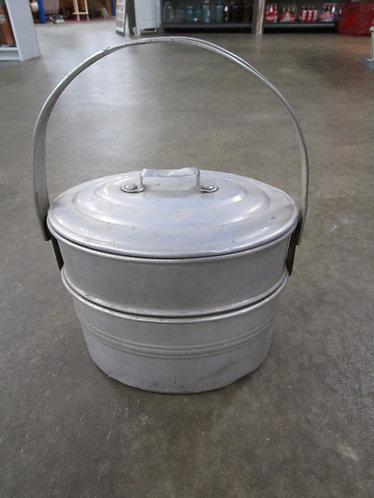 Vintage Buckeye Aluminum Swing Handle Three Piece Lunch Picnic Pail