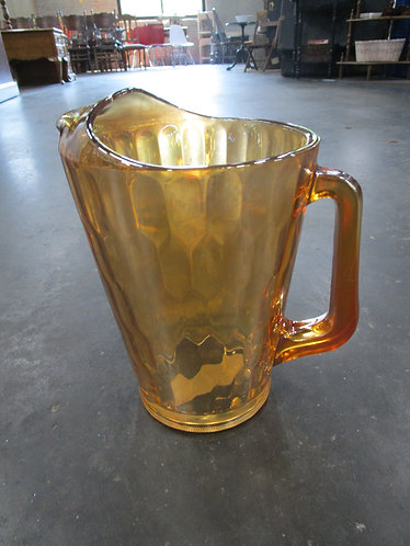 Vintage Jeanette Glass Carnival Hex Optic Handled Pitcher