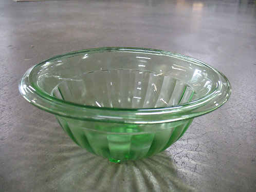 Vintage Vaseline Ribbed Glass Small Mixing Bowl