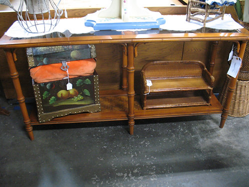 Vintage Wood & Bamboo Console Table with Glass Insert Tops