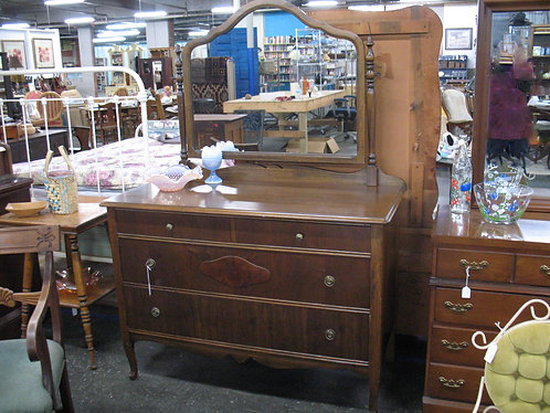 Vintage Wood Veneer Two Over Two Dresser with Attached Mirror