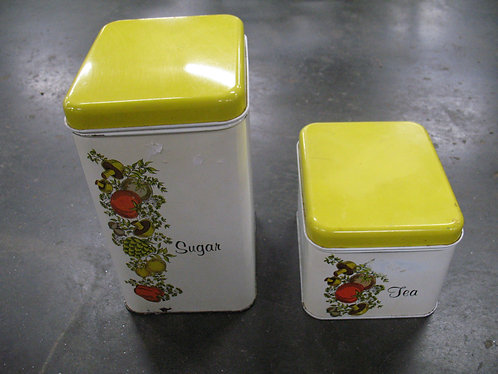 Vintage Cheinco Metal Sugar and Tea Canister Set