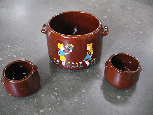Vintage West Bend Handpainted Bean Pot and Two Bean Bowls