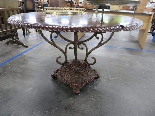 Vintage Walnut Veneer Round Dining Table with Metal Base