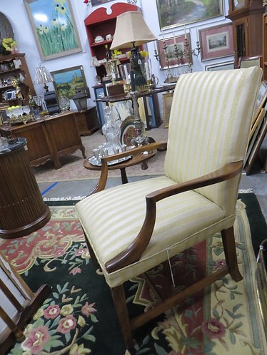 Vintage Arm Chair with Gold and Cream Striped Fabric