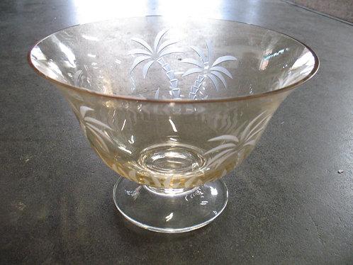 Lenox British Colonial Etched Palm Tree Crystal Pedestal Bowl