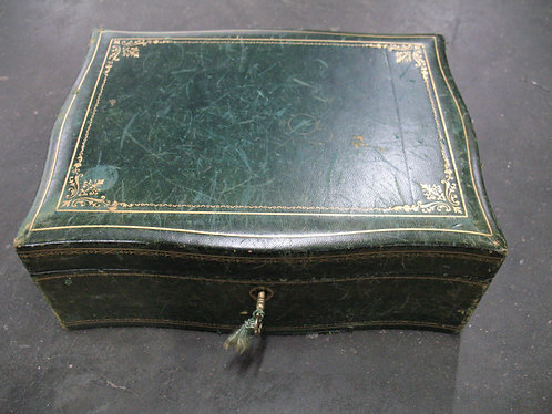 Vintage Italian Green Leather Jewelry Box