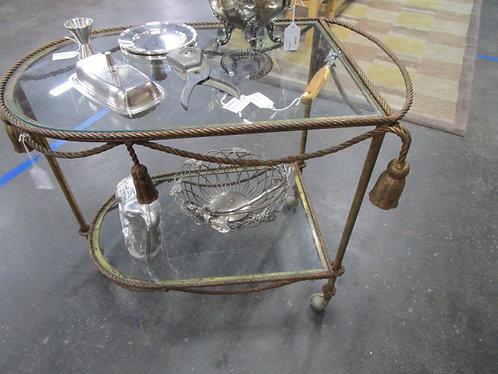 Vintage Brass Tassel and Glass Shelves Two Tiered Liquor Tea Cart