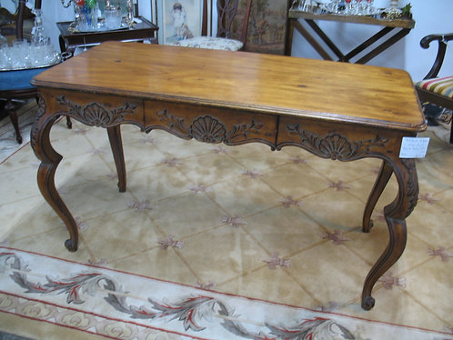 Vintage French Louis XV Style Solid Wood Carved Writing Desk