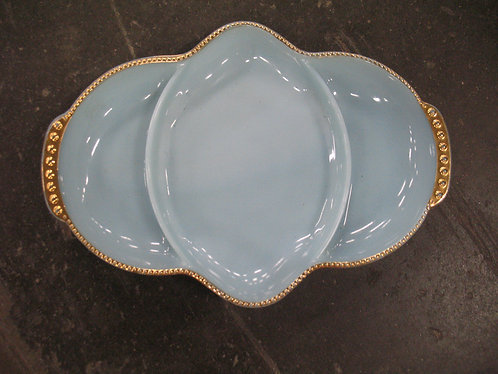 Vintage Fire King Blue Milk Glass with Gold Trim Divided Dish