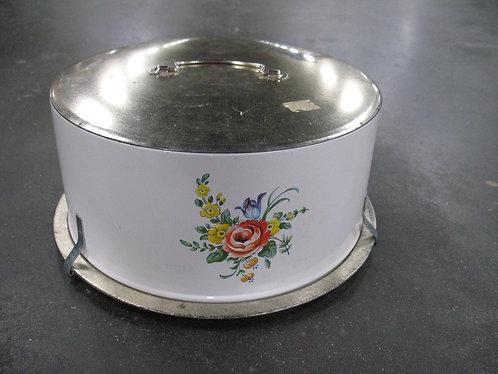 Vintage Decoware Aluminum Rose Floral Cake Carrier