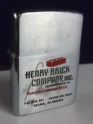 Vintage lighter, Zippo, Henry Brick Company