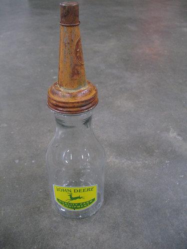 Vintage John Deere Repro Glass Oil Can with Metal Screw Cap