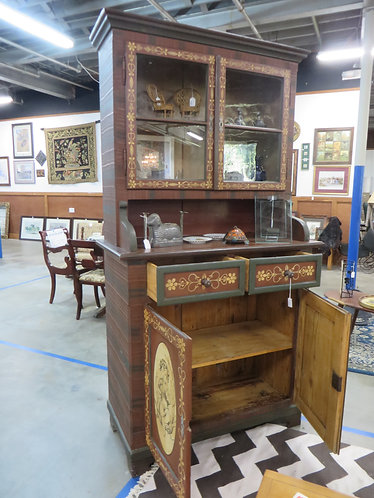 Antique (early 1900s) German Hand Painted Hutch, signed W. Amend