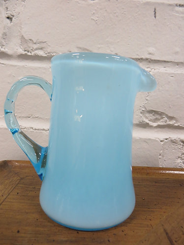 "Vintage Fenton 4"" Blue Creamer with Clear Blue Applied Handle"