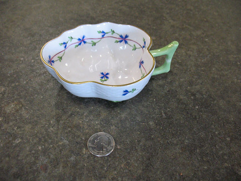 Vintage Herend Hungary Handpainted Blue Garland Leaf Trinket Dish