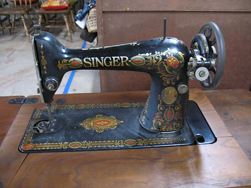 Antique Singer Treadle Sewing Machine in Cast Iron Base Table