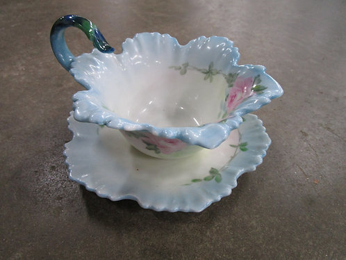 Vintage Limoges France Handpainted Gravy Boat with Attached Underplate