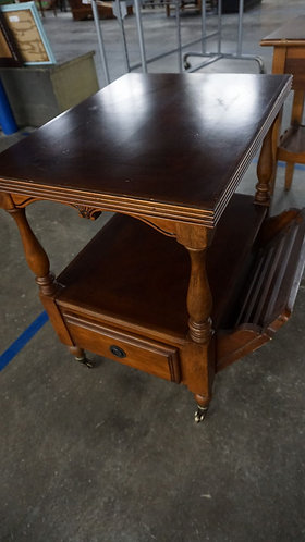 Vintage End Table with Magazine Rack and Casters